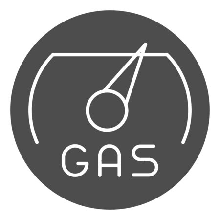 Gas meter solid icon. Fuel gouge counter, full tank. Oil industry vector design concept, glyph style pictogram on white background.