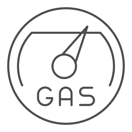 Gas meter thin line icon. Fuel gouge counter, full tank. Oil industry vector design concept, outline style pictogram on white background.