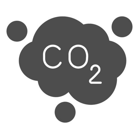 Carbon dioxide formula solid icon. Air emissions CO2, smog cloud. Oil industry vector design concept, glyph style pictogram on white background.