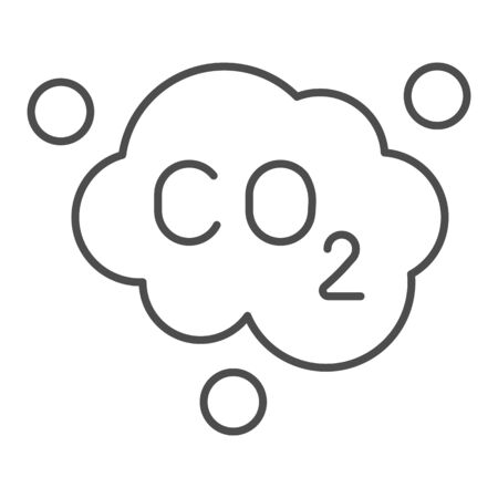 Carbon dioxide formula thin line icon. Air emissions CO2, smog cloud. Oil industry vector design concept, outline style pictogram on white background. Illustration