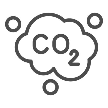 Carbon dioxide formula line icon. Air emissions CO2, smog cloud. Oil industry vector design concept, outline style pictogram on white background.