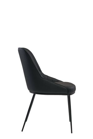 black leather chair isolated on white background. modern black stool side view. soft comfortable upholstered chair. interrior furniture element