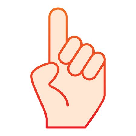 Hand with one finger pointing up flat icon. Hand with index finger up vector illustration isolated on white. Pointing gradient style design, designed for web and app Illustration
