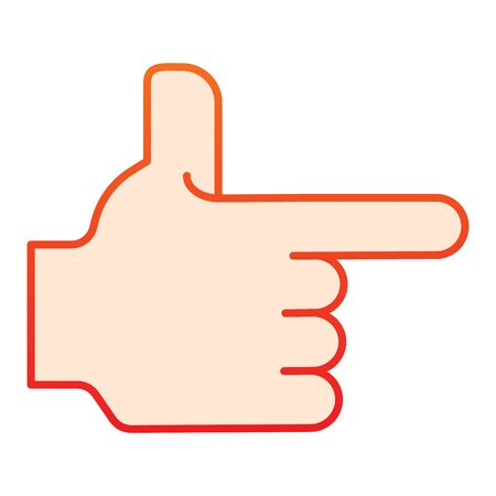 Hand pointing right flat icon. Direction vector illustration isolated on white. Pointer gradient style design, designed for web and app. Eps 10 Banque d'images - 141060344