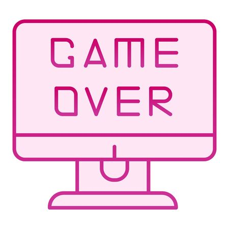 Game over text on screen flat icon. End of a game vector illustration isolated on white. Game over on display gradient style design, designed for web and app.