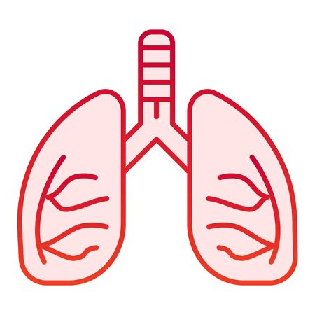 Lungs flat icon. Human anatomy vector illustration isolated on white. Organ gradient style design, designed for web and app.