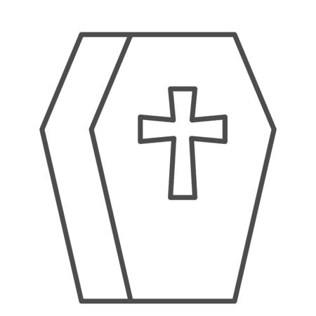 Coffin thin line icon. Cemetery box with a cross sign. Halloween party vector design concept, outline style pictogram on white background.
