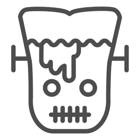 Frank man line icon. Scary monster with sliced head. Halloween party vector design concept, outline style pictogram on white background.