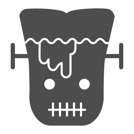 Frank man solid icon. Scary monster with sliced head. Halloween party vector design concept, glyph style pictogram on white background.