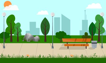 City park with green trees, plants, bench, walkway and lanterns. cityscape on a background. Vector illustration in flat cartoon style.