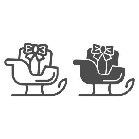 Sleigh line and solid icon. Sledge with bag of gifts and presents symbol, outline style pictogram on white background. Christmas holiday item sign for mobile concept and web design. Vector graphics.