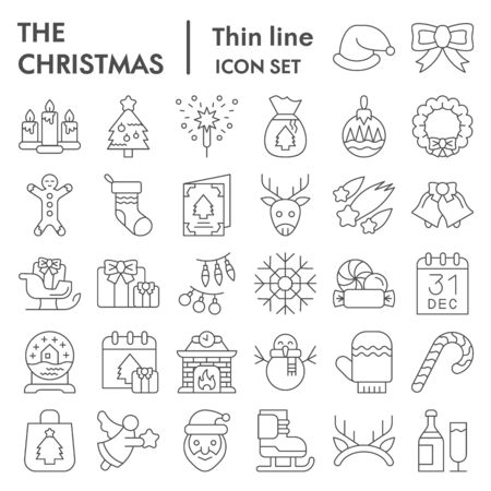 Christmas thin line icon set. Winter holiday symbols collection, vector sketches, logo illustrations, web signs, outline style pictograms package for mobile concept and web design. Vector graphics.