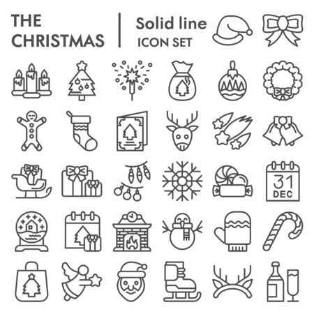Christmas line icon set. Winter holiday symbols collection, vector sketches, logo illustrations, web signs, outline style pictograms package for mobile concept and web design. Vector graphics.