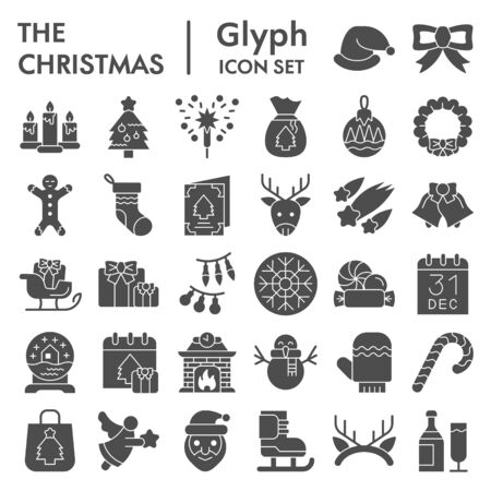 Christmas solid icon set. Winter holiday symbols collection, vector sketches, logo illustrations, web signs, glyph style pictograms package for mobile concept and web design. Vector graphics.