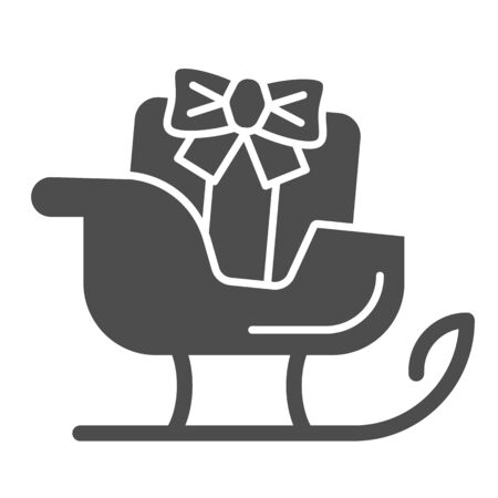 Sleigh solid icon. Sledge with bag of gifts and presents symbol, glyph style pictogram on white background. Christmas holiday item sign for mobile concept and web design. Vector graphics.