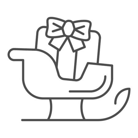Sleigh thin line icon. Sledge with bag of gifts and presents symbol, outline style pictogram on white background. Christmas holiday item sign for mobile concept and web design. Vector graphics.
