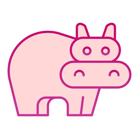 Hippopotamus flat icon. Cute hippo, animal standing and staring, simple silhouette. Animals vector design concept, gradient style pictogram on white background, graphic for web or app. Illusztráció