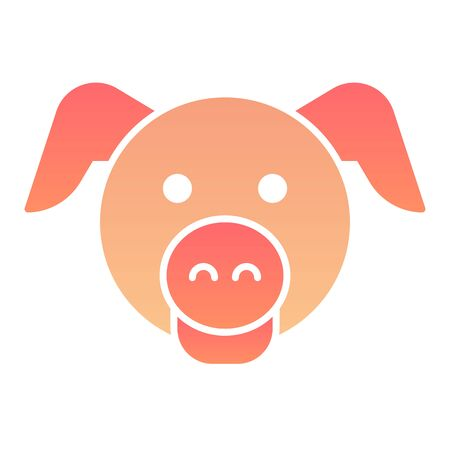 Pig head flat icon. Minimal pig face symbol, domestic farm hog. Animals vector design concept, gradient style pictogram on white background, graphic for web or app.