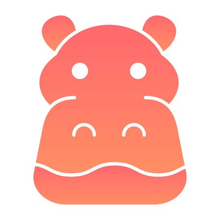 Hippopotamus flat icon. Cute hippos face looking at you, simple silhouette. Animals vector design concept, gradient style pictogram on white background, graphic for web or app.