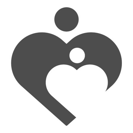 Mother love and child solid icon. Woman care in heart shape symbol, glyph style pictogram on white background. Relationship sign for mobile concept and web design. Vector graphics.