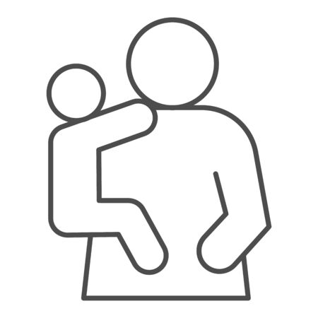 Mother and child thin line icon. Mom and kid, woman holding baby on hand symbol, outline style pictogram on white background. Relationship sign for mobile concept or web design. Vector graphics. 向量圖像