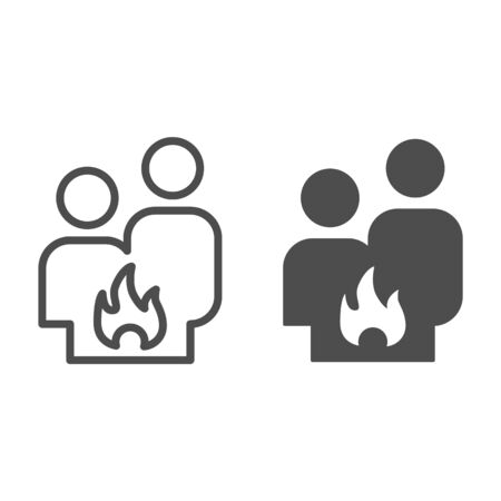 Conflict couple line and solid icon. Quarrel, man and woman conflict and fire symbol, outline style pictogram on white background. Relationship sign for mobile concept and web design. Vector graphics Ilustracja