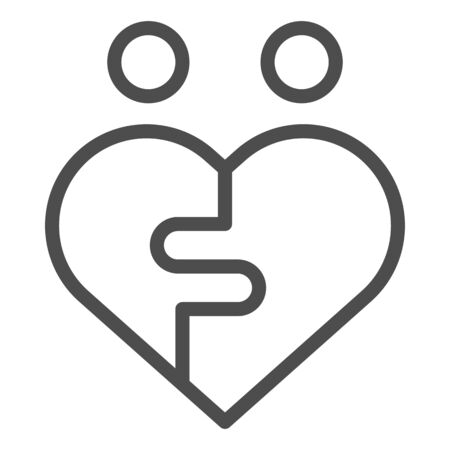 Pair puzzle heart line icon. Two halves fitting in puzzle to heart symbol, outline style pictogram on white background. Relationship sign for mobile concept and web design. Vector graphics