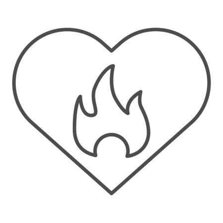 Hot loving heart and flame thin line icon. Abstract heart shape with fire symbol, outline style pictogram on white background. Relationship sign for mobile concept and or design. Vector graphics