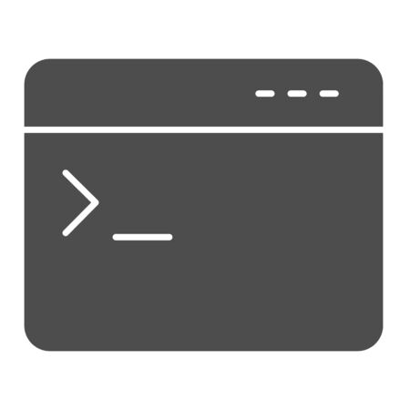 Program console solid icon. Application command input window symbol, glyph style pictogram on white background. Browser item sign for mobile concept and web design. Vector graphics.
