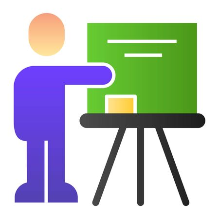 Teacher at blackboard flat icon. Visual presentation, lector pointing at board. Education vector design concept, gradient style pictogram on white background
