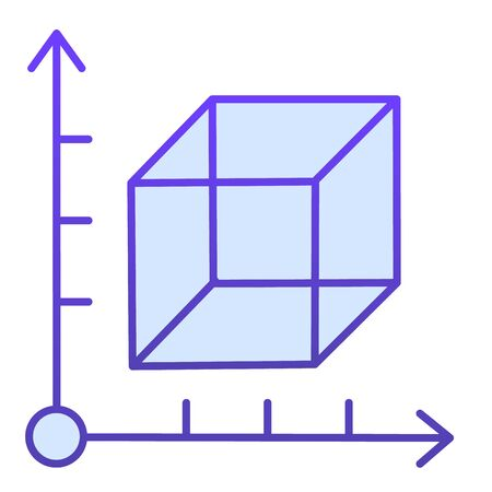 Cube and coordinates system flat icon. Isometric drawing slide. Geometry subject vector design concept, gradient style pictogram on white background.  イラスト・ベクター素材