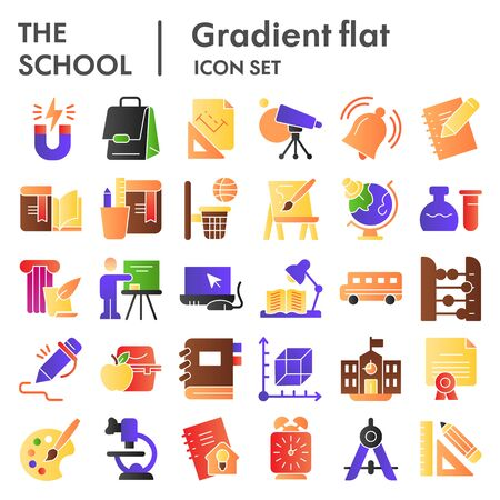 School flat icon set. Education collection, vector sketches, logo illustrations, web symbols, gradient style pictograms package isolated on white background. Vector graphics.