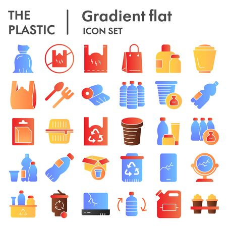Plastic products flat icon set. Zero waste collection, sketches, logo illustrations, web symbols, gradient style pictograms package isolated on white background. Vector graphics.