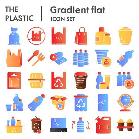 Jeu d'icônes plat de produits en plastique. Collection zéro déchet, croquis, illustrations de logo, symboles web, paquet de pictogrammes de style dégradé isolé sur fond blanc. Graphiques vectoriels.