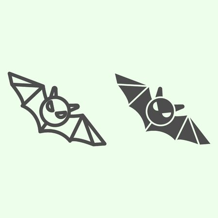 Bat line and solid icon. Flying Halloween scary night animal outline style pictogram on white background. Halloween black bat monster silhouette for mobile concept and web design. Vector graphics.