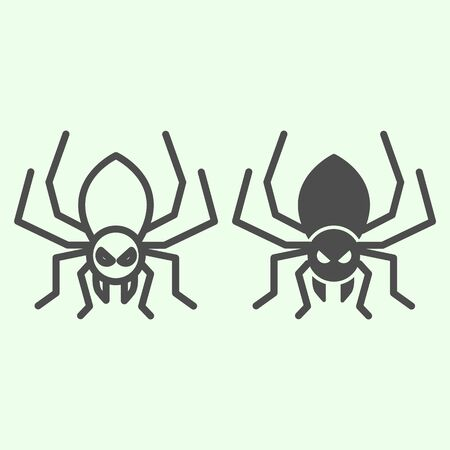 Halloween spider line and solid icon. Scary spider silhouette outline style pictogram on white background. Halloween and mystery sign for mobile concept and web design. Vector graphics
