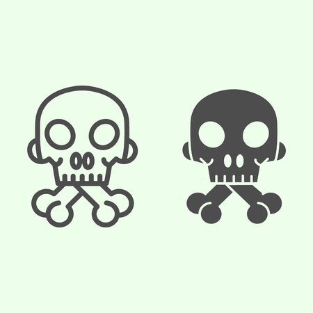 Halloween Skull line and solid icon. Human spooky death head with bones outline style pictogram on white background. Witchcraft and magic signs for mobile concept and web design. Vector graphics