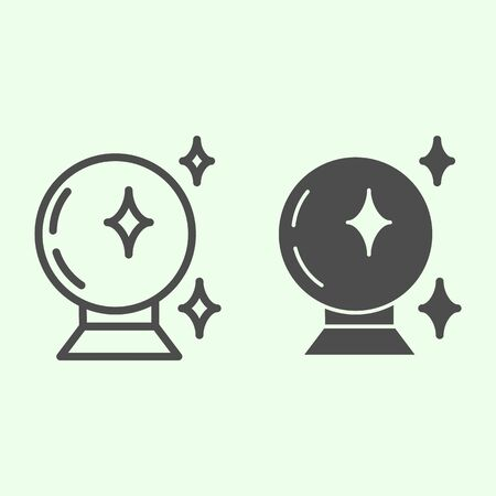 Magic ball line and solid icon. Witch crystal fortune sphere outline style pictogram on white background. Halloween or Witchcraft and magic signs for mobile concept and web design. Vector graphics