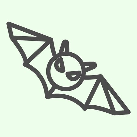 Bat line icon. Flying Halloween scary night animal outline style pictogram on white background. Halloween black bat monster silhouette for mobile concept and web design. Vector graphics.