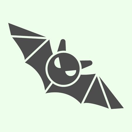 Bat solid icon. Flying Halloween scary night animal glyph style pictogram on white background. Halloween black bat monster silhouette for mobile concept and web design. Vector graphics.