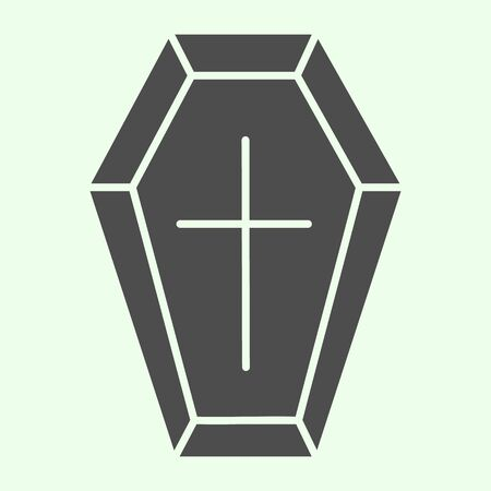 Coffin solid icon. Funeral wooden casket with cross glyph style pictogram on white background. Halloween death vampire burial coffin for mobile concept and web design. Vector graphics.