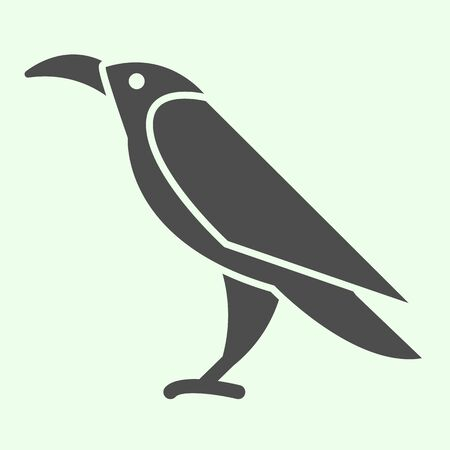 Halloween raven solid icon. Mystical gothic rook bird glyph style pictogram on white background. Evil or witch wild crow silhouette for mobile concept and web design. Vector graphics.