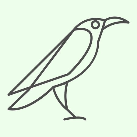 Halloween raven thin line icon. Mystical gothic rook bird outline style pictogram on white background. Evil or witch wild crow silhouette for mobile concept and web design. Vector graphics.