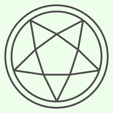 Pentagram thin line icon. Mystical gothic five pointed star in circle outline style pictogram on white background. Occult witch ceremony pentacle for mobile concept and web design. Vector graphics.