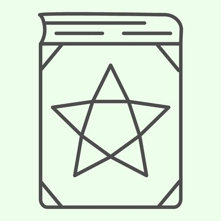 Magic book thin line icon. Witch astrology spellbook with star outline style pictogram on white background. Halloween or Witchcraft signs for mobile concept and web design. Vector graphics.