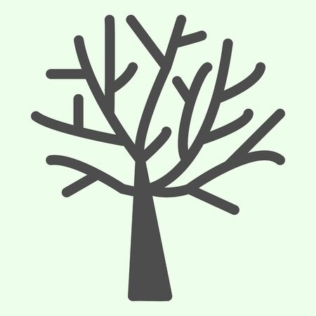 Bare tree solid icon. Halloween dead leafless plant glyph style pictogram on white background. Nature death with branches for mobile concept and web design. Vector graphics.