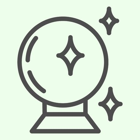 Magic ball line icon. Witch crystal fortune glass sphere outline style pictogram on white background. Halloween or Witchcraft and magic signs for mobile concept and web design. Vector graphics. 向量圖像