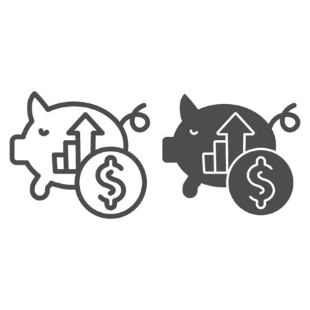 Piggy bank hoarding coin line and solid icon. Moneybox with dollar growth symbol, outline style pictogram on white background. Money savings sign for mobile concept and web design. Vector graphics.