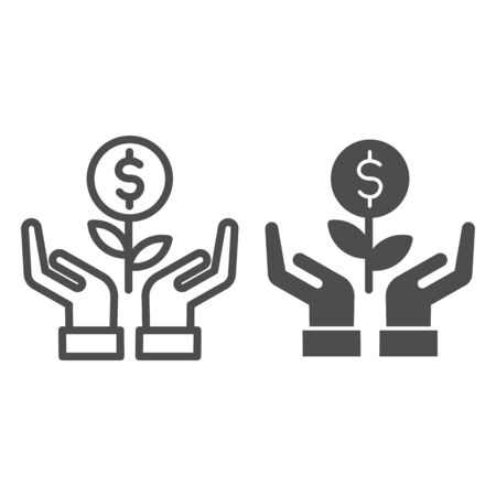 Grows plant in care hands line and solid icon. Money holding flower symbol, outline style pictogram on white background. Dollar sign for mobile concept and web design. Vector graphics.