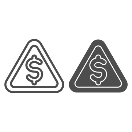 Triangular line and solid icon. Danger, warning signal with dollar symbol, outline style pictogram on white background. Money sign for mobile concept and web design. Vector graphics.